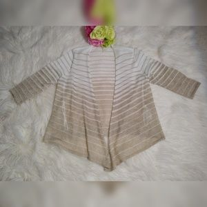 CHICO'S STRIPED PARKLE ASYMETRICAL OPEN CARDIGAN